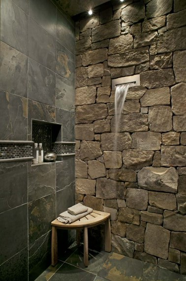 Fantastic-Stone-Wall-Decor-inside-Bathroom-with-Waterfall-Shower-and-Wall-S